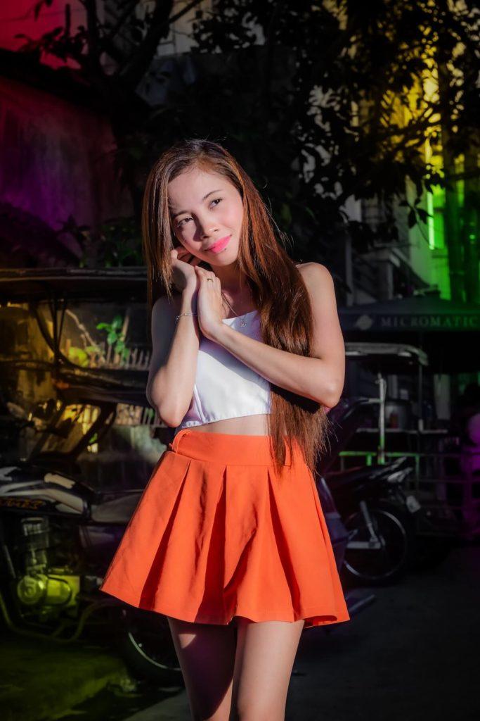 Beautiful Filipina in red dress