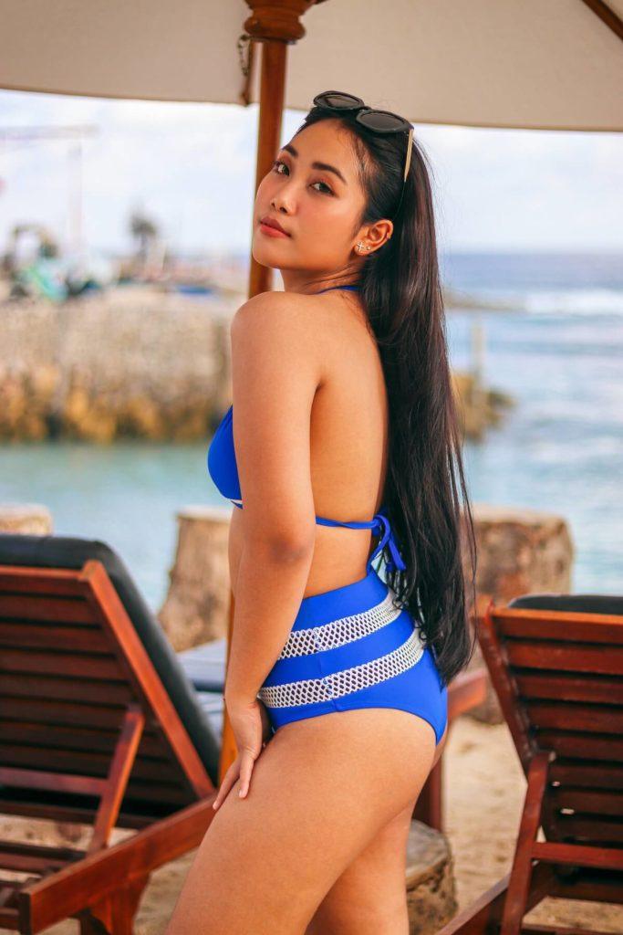 Filipina in blue bikini at the beach